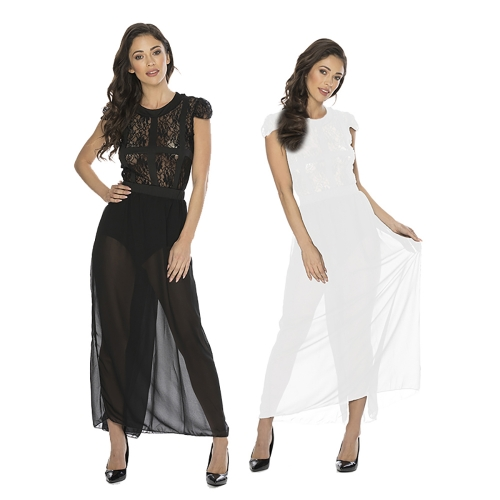 Women Transparent Short Sleeve Maxi Dress