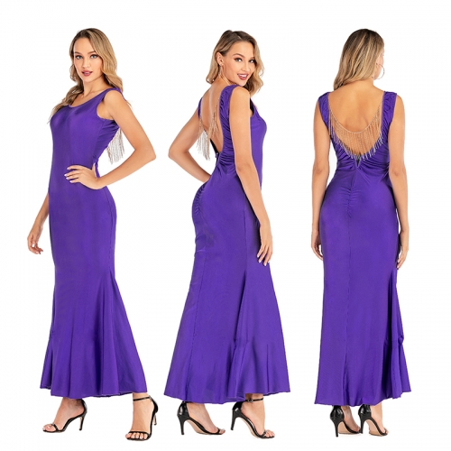 Purple Women Sleeveless Evening Dress