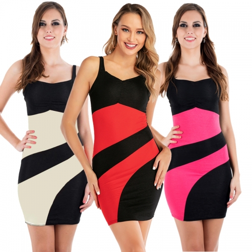 3 Color Women Bodycon Sleeveless Mini Dress