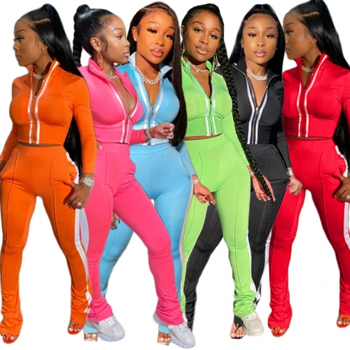 Women Clothing Long Sleeve soild color Hoodie Sweatsuit Jogging Suit Two Pieces Pants Set
