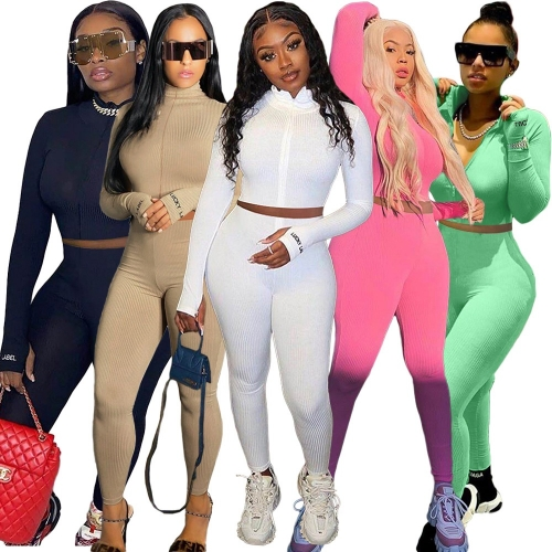 Casual Turtleneck Knit Tracksuits Two Piece Sets Women Bodycon Fitness Outfits