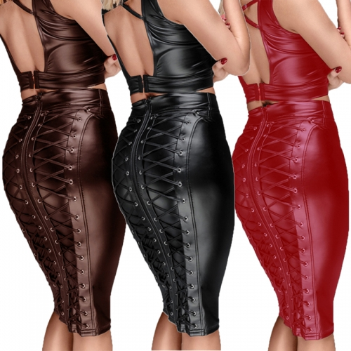 Women Gothic Wet Look Faux Leather Lace Up High Waist Short Bandage Midi Skirt