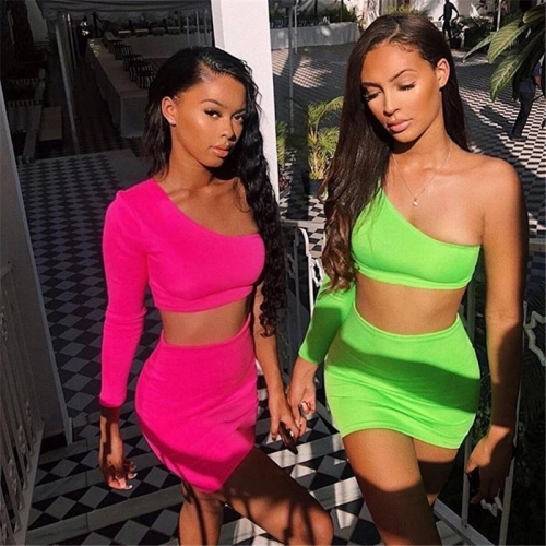 Women Neon Bodycon 2 Piece Set Summer High Street Night Out Club Outfits Matching Short Sets Crop Top Skirt