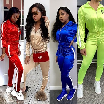Fashion Two Piece Sport Set Women Clothing Tracksuit Casual Outfits Tops and Pants Sets