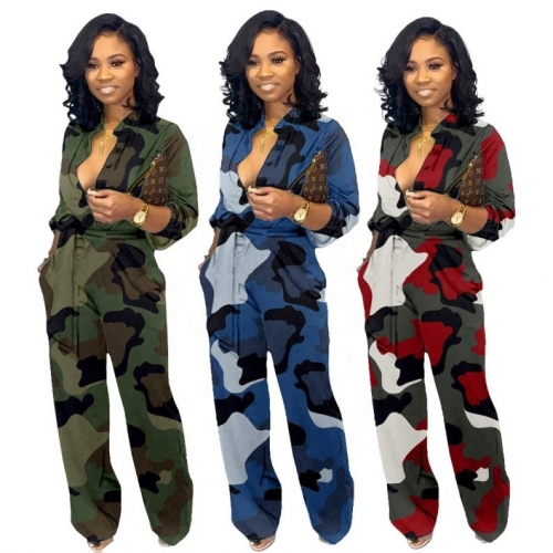 New Winter And Fall Loose Camouflage Long Sleeve Jumpsuit For Women
