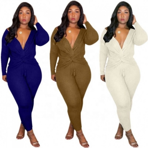 Fashion Deep V-neck Solid Two Piece Pants Set Women
