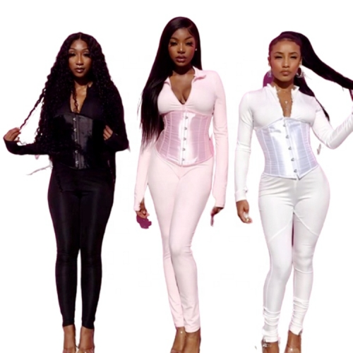 2020 Fall Women Long Sleeve Bodycon Bodysuit Jumpsuit With Underbust Waister Trainer Corset