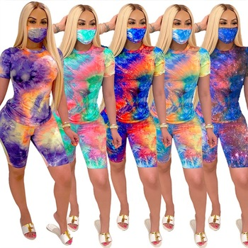 Tie Dye Two Piece Outfits With Face Cloth