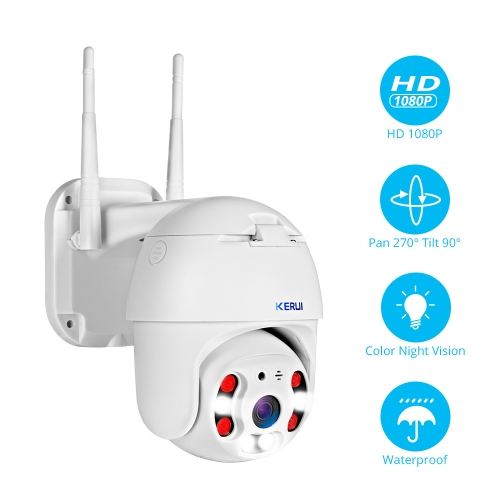 KERUI Outdoor Waterproof Wireless 1080P 2MP PTZ WiFi IP Camera Speed Dome Camera H.264+ IR Home Security CCTV Surveillance