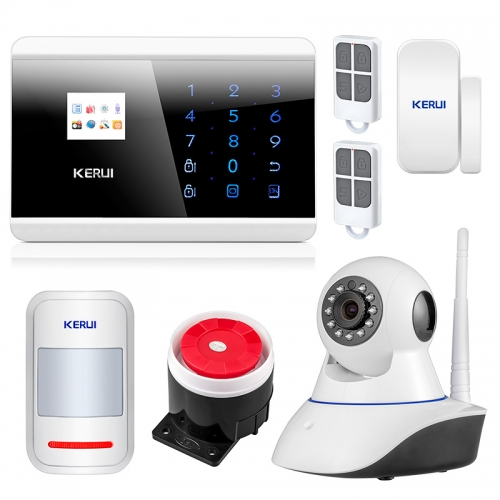 Kerui 8218G with HD APP controled IP camera+LCD Display 850/900/1800/1900mhz 99 Wireless GSM PSTN Home Security Alarm System