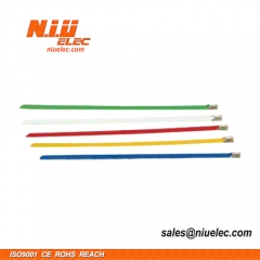 Coated ball-lock stainless steel cable tie