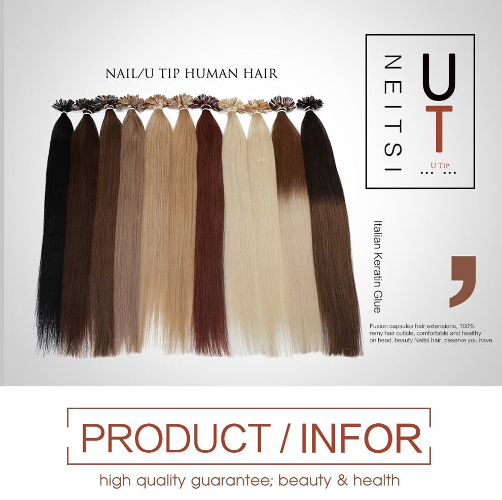 Neitsi Fashion Straight Nail U Tip Brazilian Remy Human Hair