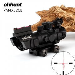 ohhunt 4x32 Compact Riflescope Tri-Illuminated Rapid Ranging Reticle with Back Up Fiber Optic Front and Rear Sight