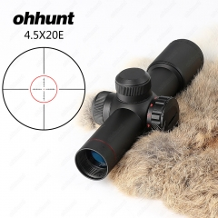 Ohhunt 4.5x20E Compact Red Illuminated Riflescope With Flip-open Lens Caps and Rings