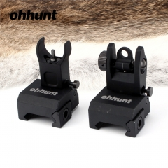 ohhunt Quick Deploy Flip up Low Profile Front and Rear Sight Set Standard Tactical AR-15 Flat-Top with Windage Adjustment