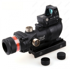 ohhunt 4X32 Hunting Real Fiber Optic Red Illuminated w/Weaver Rail RMR Red Dot Tactical Scope