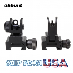 Ohhunt Model 4 AR 15 Flip Up Front Rear Sight Rapid Transition with Windage Adjustment Dual Aiming Apertures