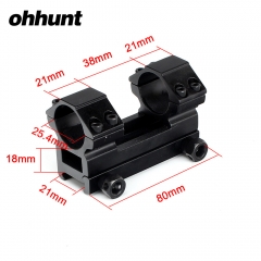 ohhunt 25.4mm 1 inch Medium Profile Picatinny Weaver Riflescopes Mount Rings 8cm Long