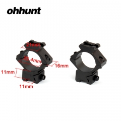 "ohhunt 25.4mm 1"" 2PCs Compact Size Medium Profile Dovetail .22 Airgun Rings Top with 20mm Rail Hunting Scope 11mm Mount"