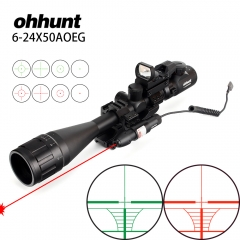 ohhunt 6-24x50 AOEG Rangefinder Reticle Rifle Scope with Holographic 4 Reticle Sight Red Green Laser Combo Riflescope
