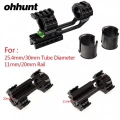 "ohhunt 11mm 3/8"" Dovetail 20mm Picatinny Weaver Riflescope Rings Hunting 25.4mm 30mm Offset Scope Mount Bubble Level Extra Rail"