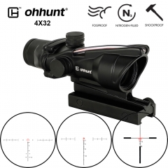 Ohhunt 4x32 ACOG Tactical  Rifle Scope Red Green Glass Etched Reticle Real Fiber Optics Hunting Sights RifleScopes