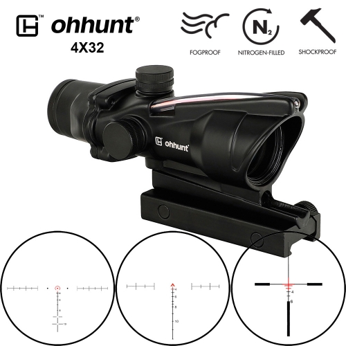 Ohhunt 4x32 Tactical  Rifle Scope Red Green Glass Etched Reticle Real Fiber Optics Hunting Sights RifleScopes