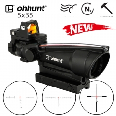 ohhunt 5X35 ACOG Style Three Model Reticle Red or Green Illuminated hunting Scope with Red Dot for cal .223 .308