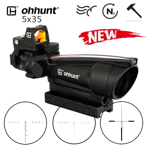 ohhunt 5X35 ACOG Style Three Model Reticle Red or Green Illuminated Tactical Rifle Scope with Red Dot for cal .223 .308 Rifle