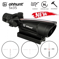 ohhunt 5X35 ACOG style Hunting Real Fiber Optics Scope BDC Chevron Horseshoe Glass Reticle Tactical Optical Sights for Rifle cal .223 .308