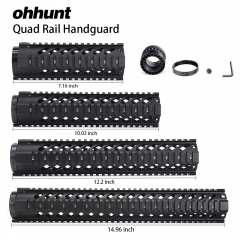 "ohhunt Tactical 7"" 10"" 12"" 15"" Free Float Quad Picatinny Rail Handguard Installs On Standard Carbine .223 5.56 AR15 M16 Rifles"