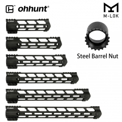"ohhunt AR15 Free Float M-LOK Handguard 7"" 9"" 10"" 12"" 13.5"" 15"" 17"" Picatinny Rail Ultra lightweight Slim Style Steel Barrel Nut"