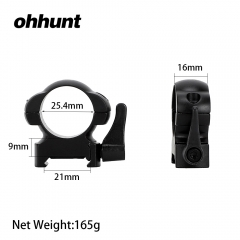 ohhunt 25.4mm Diameter Steel Quick Release Picatinny Weaver Low Profile Hunting Scope Rings Tactical Mounts