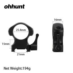 ohhunt 25.4mm Diameter Steel Quick Release Picatinny Weaver High Profile Hunting Scope Rings Tactical Mounts