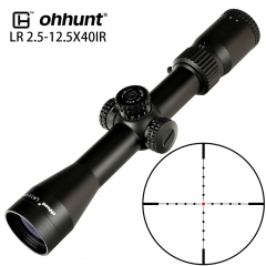 ohhunt LR 2.5-12.5X40 IR Hunting Scope Mil Dot Glass Etched Reticle Red Illumination Turrets Lock Reset Tactical Riflescope