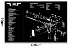 Ohhunt 1911 Armorers Bench Mat Gun Cleaning Rubber Mat Parts Diagram & Instructions Gun Split Picture Economy Gaming Mouse Pad