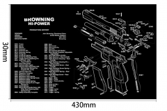 Ohhunt Browning Hi-Power Gun Split Picture Economy Gaming Mouse Pad Rubber Soft Mouse Pad Armorers Bench Mat Gun Cleaning Mat Parts Diagram