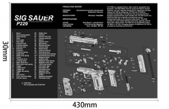Ohhunt Sig Sauer P229 Armorers Bench Mat Gun Cleaning Rubber Mat Parts Diagram & Instructions Gun Split Picture Economy Gaming Mouse Pad