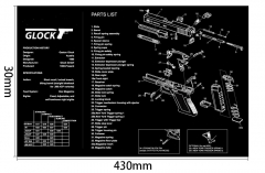 Ohhunt GLOCK Armorers Bench Mat Gun Cleaning Rubber Mat Parts Diagram & Instructions Gun Split Picture Economy Gaming Mouse Pad Rubber Soft Mouse Pad