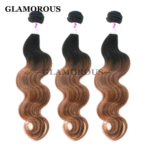 12-26 inches Color #1B-30 Ombre Body Wave Virgin Indian Human Hair Weaving