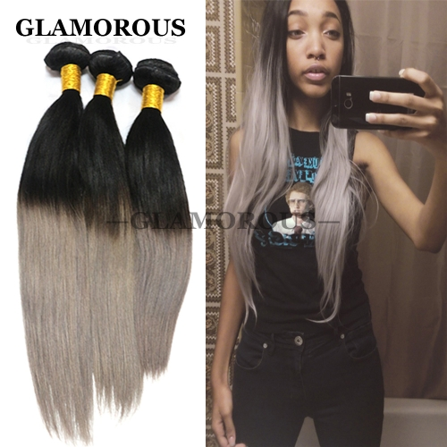 Ombre Grey Hair Straught 100% Virgin Full Cuticles Peruvian Human Hair Extensions