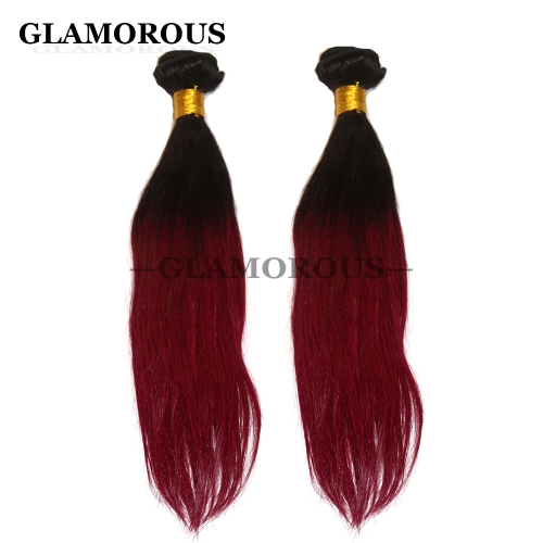 12-26 inch Color #1B-Burgundy Ombre Virgin Straight Human Hair Weaving