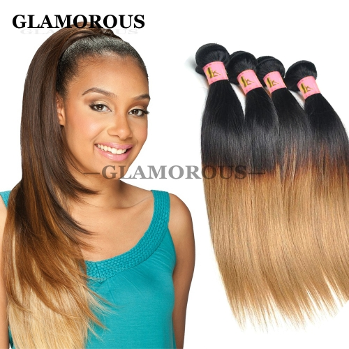 Virgin Brazilian Human Hair Weaving Color #1B-27 Ombre Silky Straight