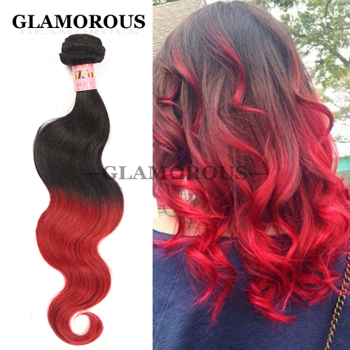 12-26 inch Virgin Brazilian Human Hair Weaving Color #1B-Red Ombre Body Wave