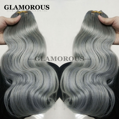 Wholesale Human Hair Weave Russian Hair Extensions 12-26inch Grey Body Wave