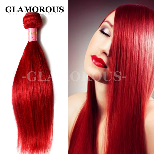 12-24 Inches Silky Straight Red Color Human Hair Weaving On Sale