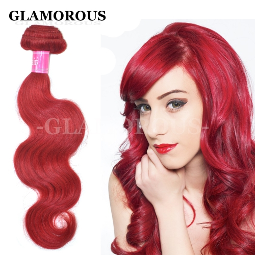 12-24 Inches Body Wave Red Color Human Hair Weaving On Sale