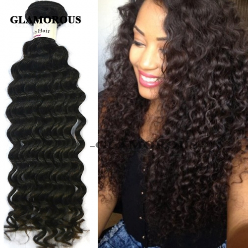 8-34 inches Unprocessed Virgin Brazilian Deep Wave Human Hair Weaving