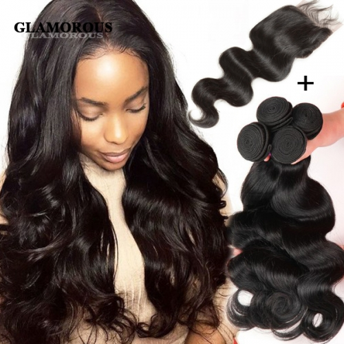 100% Unprocessed Virgin Human Hair Burmese Body Wave 3 Bundles with a Lace Closure