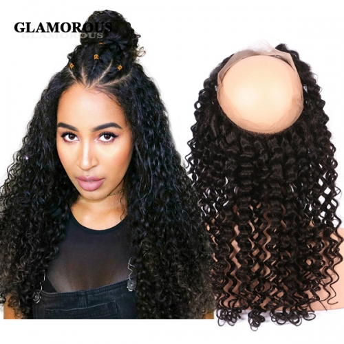 100% Virgin Human hair Deep Wave 360 Lace Frontal